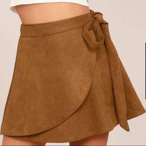 Lulu's Wrap To It Tan Suede Mini Skirt
